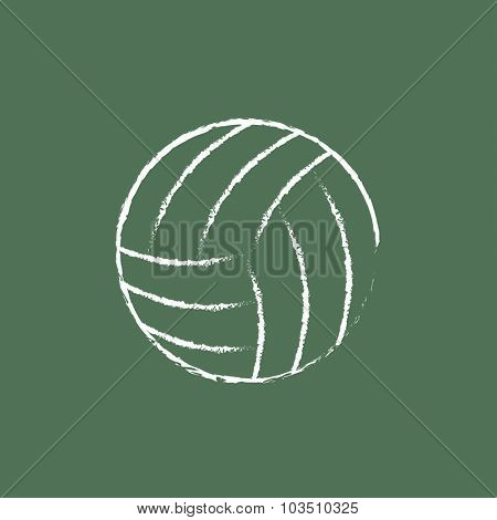 Volleyball ball hand drawn in chalk on a blackboard vector white icon isolated on a green background.
