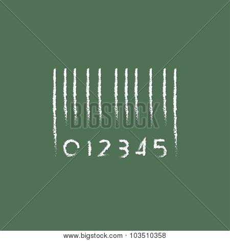 Barcode hand drawn in chalk on a blackboard vector white icon isolated on a green background.