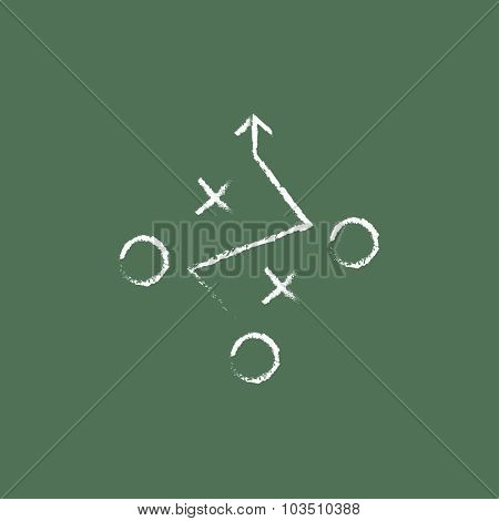 Tactical plan hand drawn in chalk on a blackboard vector white icon isolated on a green background.