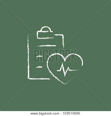 Heartbeat record hand drawn in chalk on a blackboard vector white icon isolated on a green background.