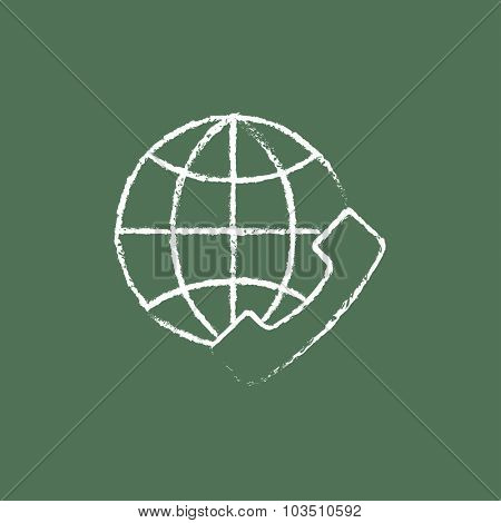 Global internet shopping hand drawn in chalk on a blackboard vector white icon isolated on a green background.
