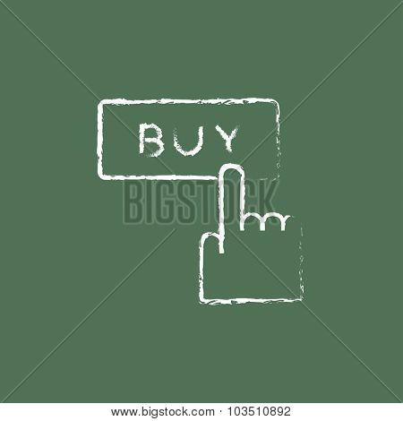 Buy button hand drawn in chalk on a blackboard vector white icon isolated on a green background.