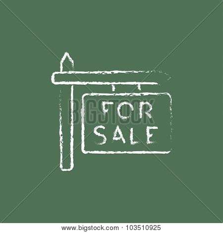 For sale signboard hand drawn in chalk on a blackboard vector white icon isolated on a green background.