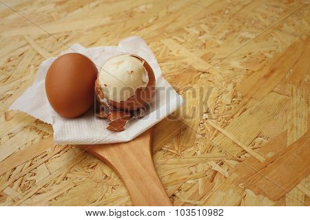 Boil Eggs On Background Of Brown Wooden.