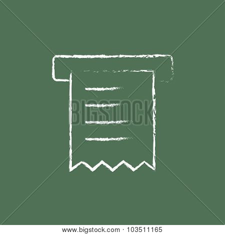 Receipt hand drawn in chalk on a blackboard vector white icon isolated on a green background.