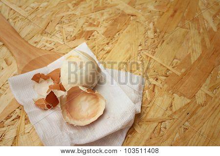 Boil Egg On Background Of Brown Wooden.