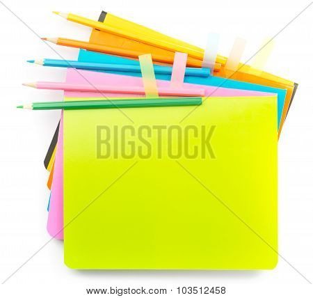 Crayons on copybooks