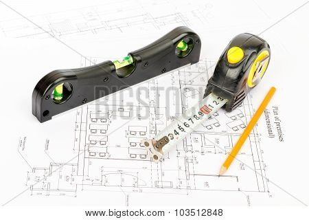 Tape measure and level