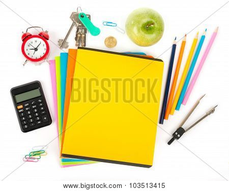 Copybooks with calculator and office stuff