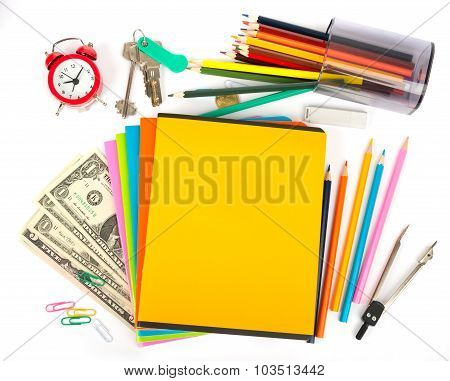 Copybooks with keys and office stuff