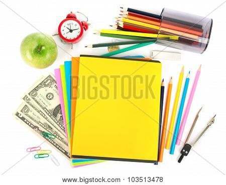 Copybooks with money and office stuff