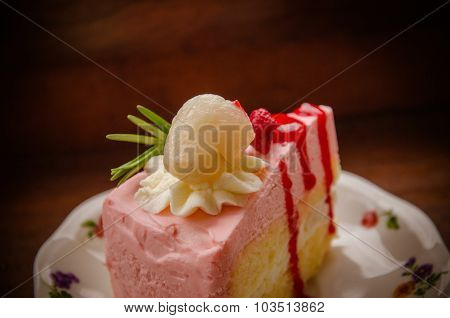Peice Of Creme Cake With Litchi