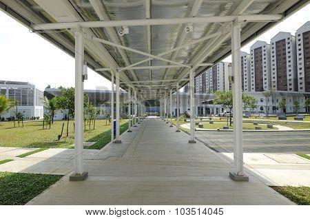 Pedestrian walkway at Ara Damansara Mosque in Selangor, Malaysia