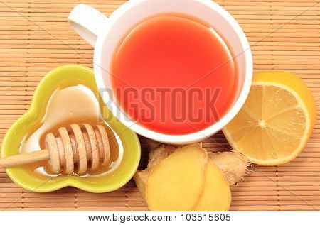 Cup Of Healthy Tea With Honey Ginger And Lemon