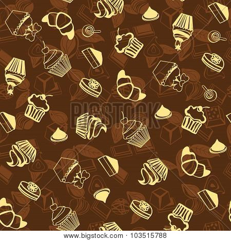 Cupcake And Cookie For Dessert Background