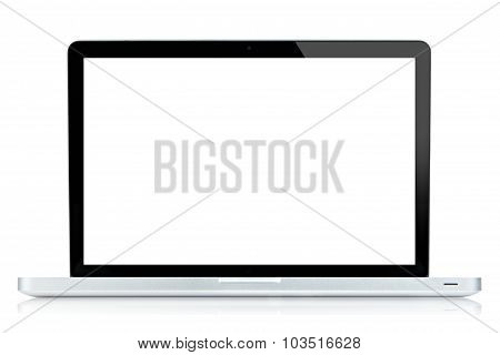Laptop Computer White Screen Isolated On White.