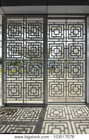 Wall pattern and shadow at Ara Damansara Mosque in Selangor, Malaysia