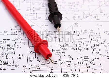 Diagram Of Electronics Printed Circuit Board And Cable Of Multimeter