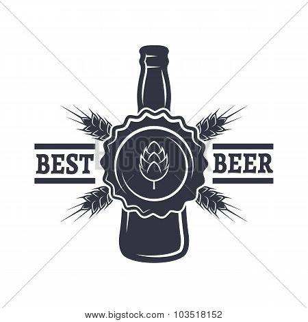 Bottle of Beer, hops and malt.