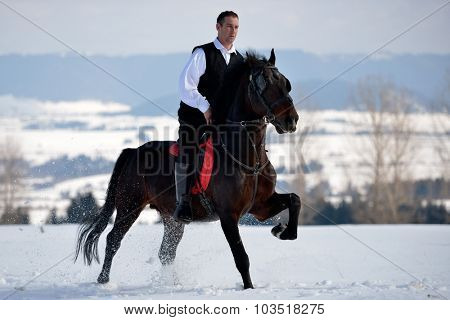 young man riding horse outdoor in winter day