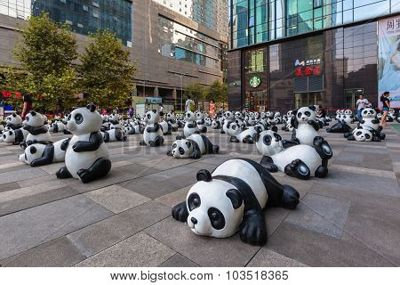 Group Of Giant Panda Statues In Chengdu