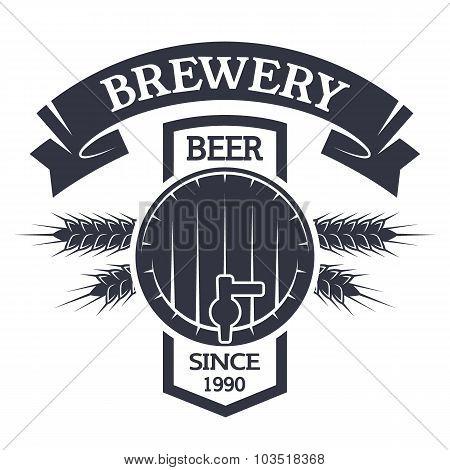 Keg beer. Brewing vintage emblem.