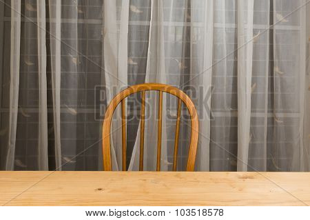 Wooden Dining Table And Chair With Nobody.