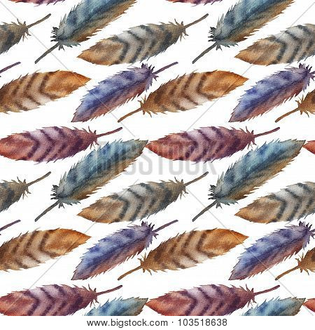 A seamless pattern with watercolor feathers.