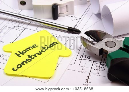 House Of Yellow Paper, Work Tools, Electric Fuse And Construction Drawing