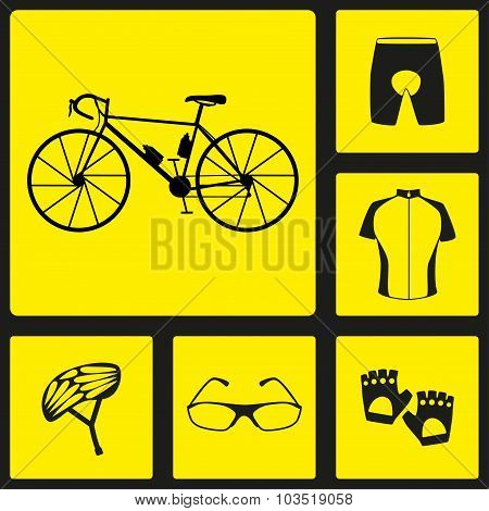 Set of black silhouette icons of bicycle uniform. Six bike icons, infographic elements. Vector illus