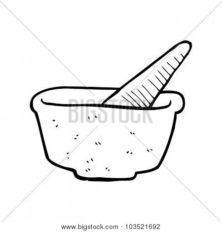 simple black and white line drawing cartoon  pestle and mortar