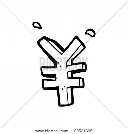 simple black and white line drawing cartoon  yen symbol
