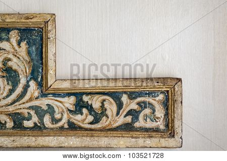old frame,corner of an ancient baroque frame gold decorated