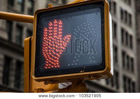 Red traffic lights in New York City
