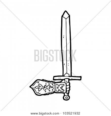 simple black and white line drawing cartoon  sword and hand