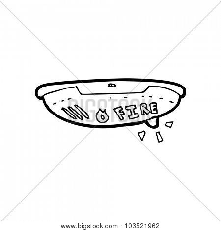 simple black and white line drawing cartoon  fire alarm