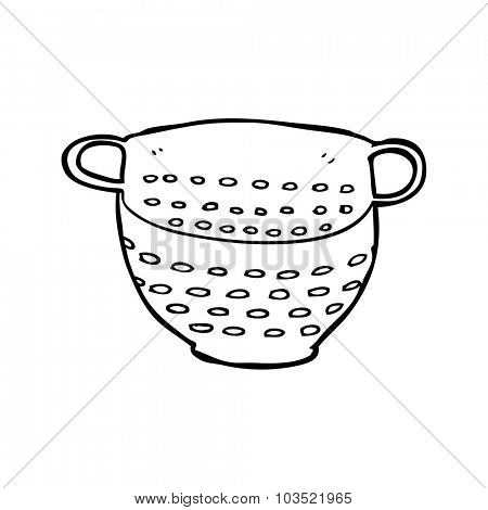 simple black and white line drawing cartoon  colander