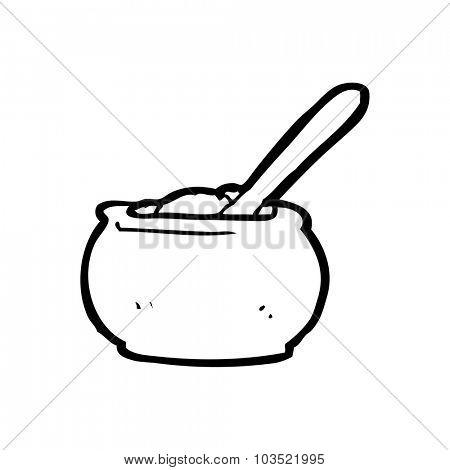 simple black and white line drawing cartoon  sugar bowl