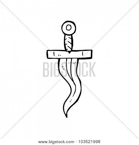 simple black and white line drawing cartoon  dagger tattoo