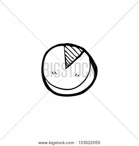 doodle simple black and white line drawing cartoon  pie chart
