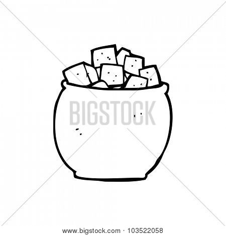 simple black and white line drawing cartoon  sugar cubes