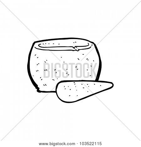 simple black and white line drawing cartoon  stone pestle and mortar