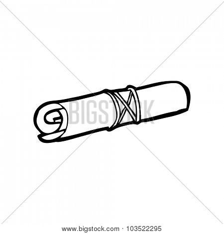simple black and white line drawing cartoon  scroll