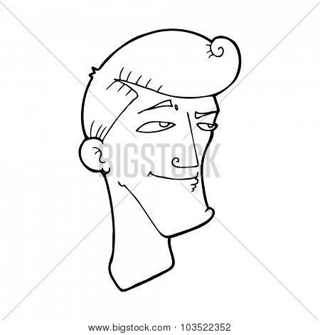 simple black and white line drawing cartoon  confident man