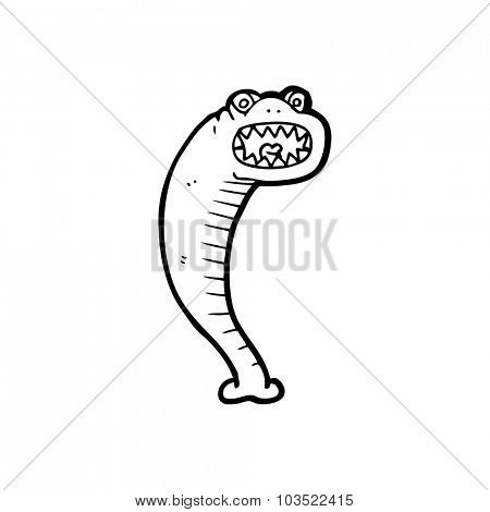 simple black and white line drawing cartoon  leech
