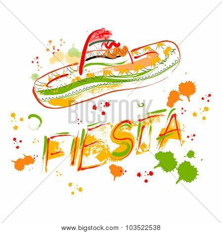 Mexican Fiesta Party Invitation with sombrero. Hand drawn vector illustration poster with grunge bac