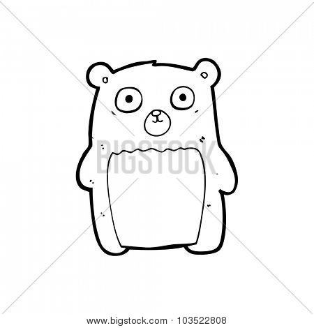 simple black and white line drawing cartoon  funny teddy bear