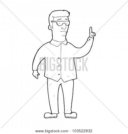 simple black and white line drawing cartoon  man wearing sunglasses