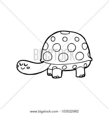 simple black and white line drawing cartoon  tortoise