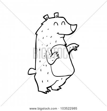 simple black and white line drawing cartoon  bear